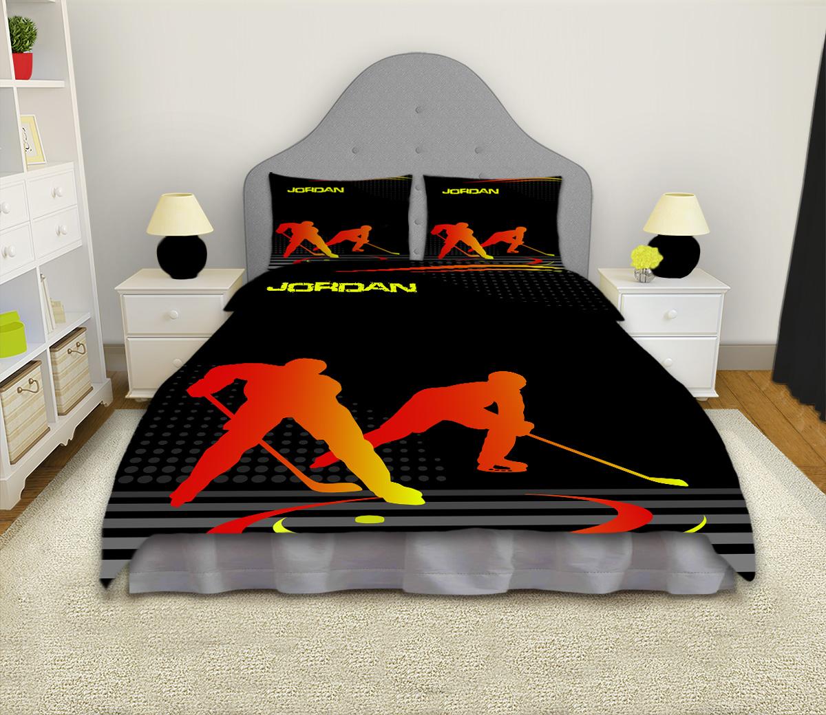 Hockey Orange And Black Duvet Cover Ice Hockey Boys