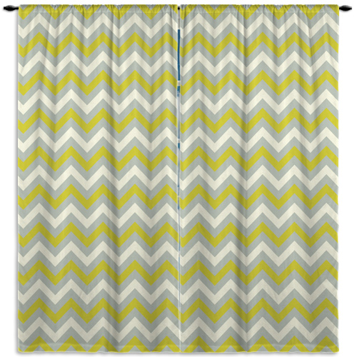 off white and green curtain panels in chevron pattern 113