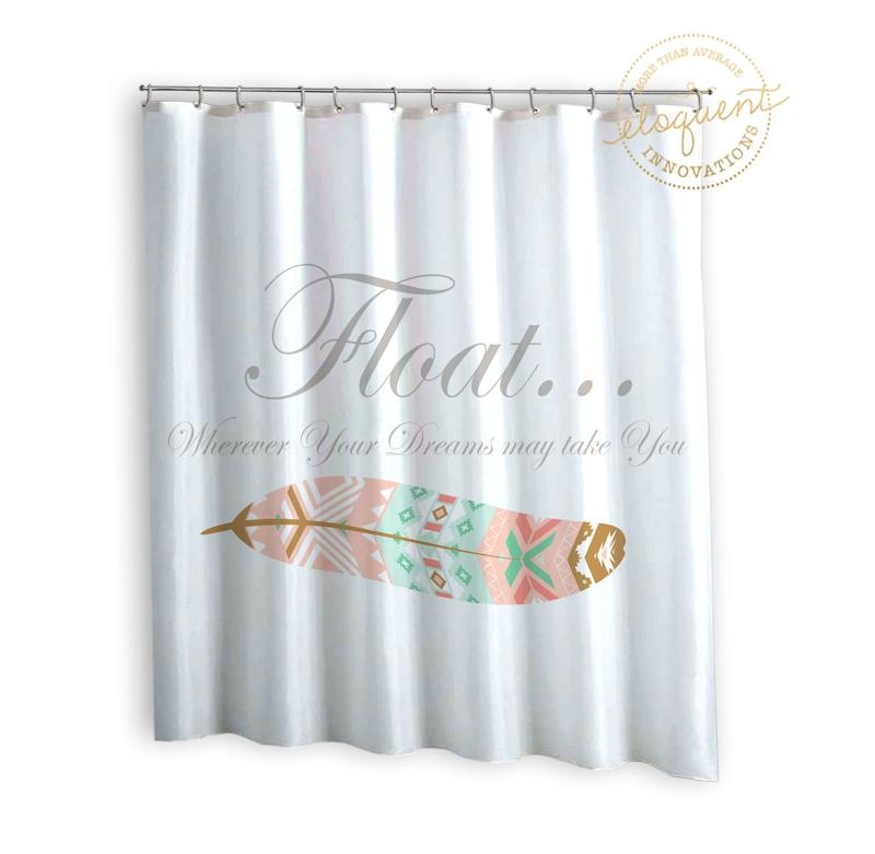 dorm shower curtains typography feather white dorm girls shower curtains 288
