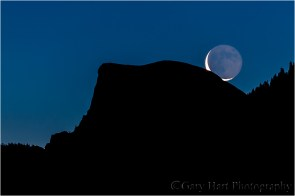 First Look, Crescent moon above Half Dome, Yosemite