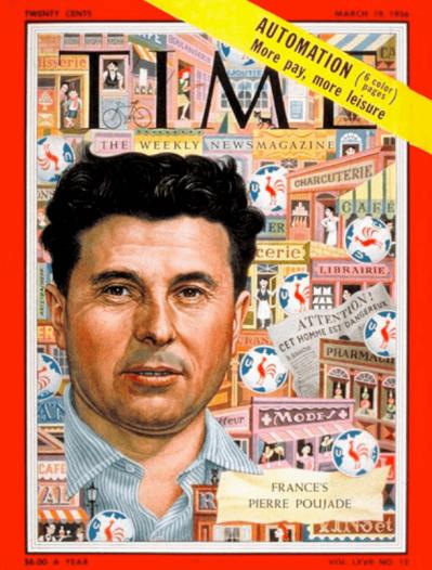 Pierre Poujade portada de la revista Time en marzo de 1956.