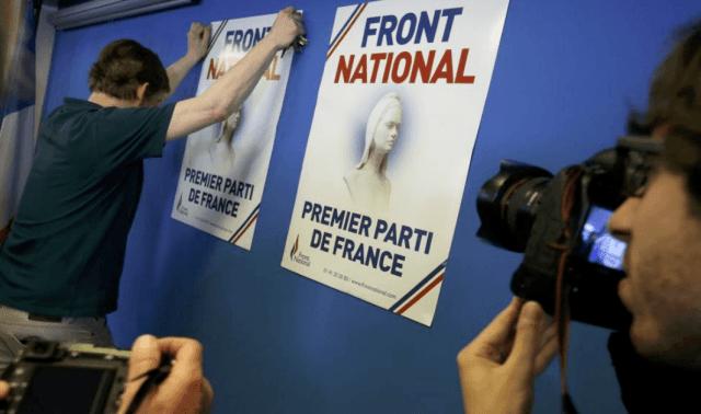 """""""Frente Nacional: primer partido de Francia"""". Eslogan electoral que da cuenta del cambio de estrategia en el partido de Marine Le Pen."""