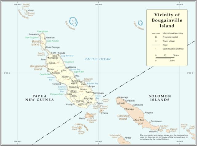 Mapa de la isla de Bougainville, perteneciente a Papúa Nueva Guinea