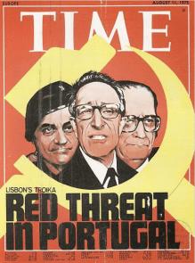 Portada de la revista Time en la cual alude al peligro comunista en Portugal. Los tres personajes que se ven en dicha portada son Otelo Saraiva Carvalho, Vasco Gonçalves, y Costa Gomes