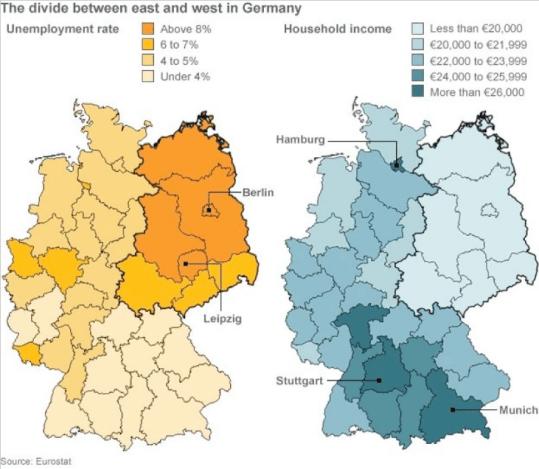 En esta gráfica del nivel de desempleo de Alemania, se puede observar como los lander que solían formar la antigua RDA son los que sufren un nivel de paro más elevado. Las dificultades económicas son las que provocaron la aparición de la Ostalgie