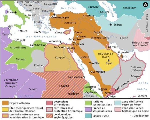 El Imperio Otomano hacia 1914. En aquellos años todavía controlaba importantes centros económicos y demográficos, como Mesopotamia o la costa arábiga del Mar Rojo