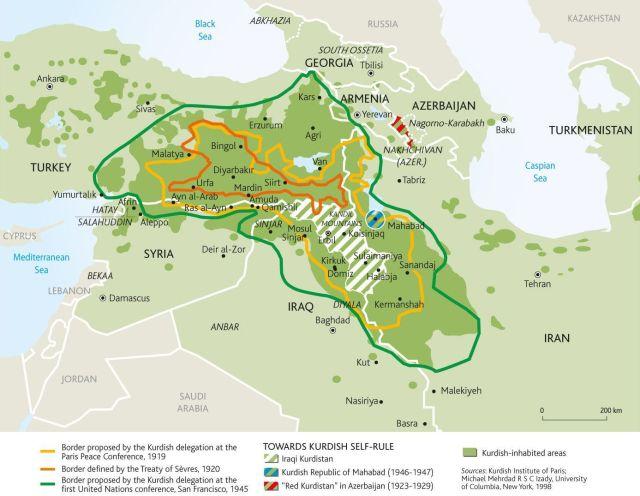 Oriente Medio - Confictos - Historia - Kurdistán y sus fronteras históricas