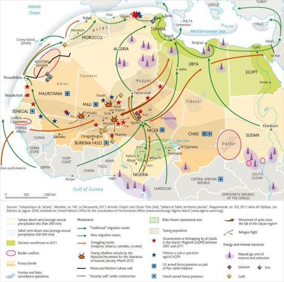Consecuencias geopolíticas en el continente africano de la caída de Libia. Fuente: Le Monde Diplomatique