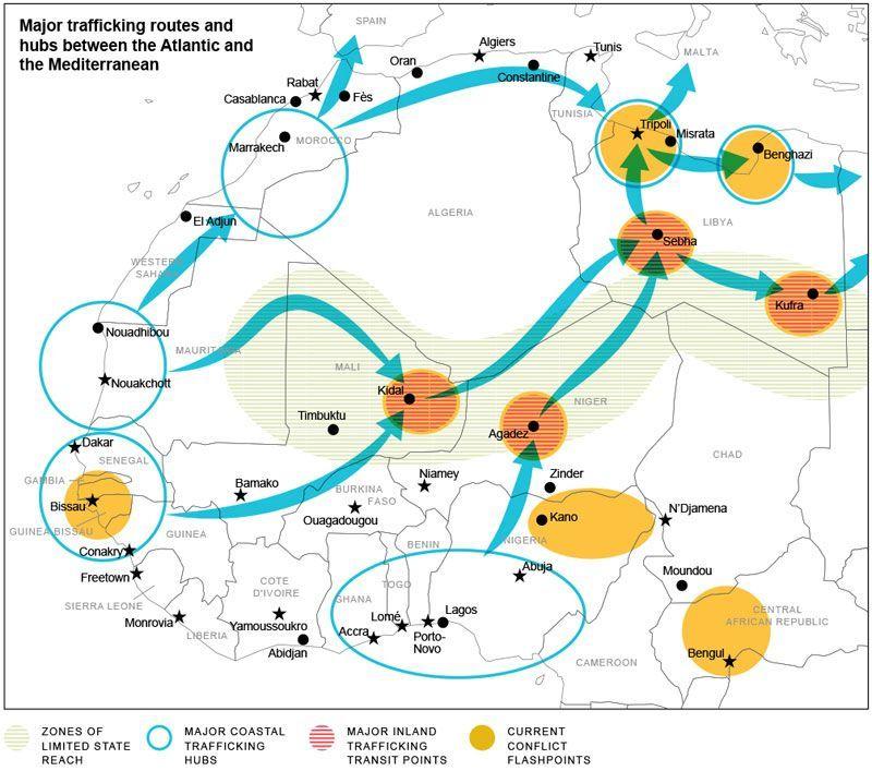 Flujos ilícitos entre el Atlántico y el Mediterráneo a través de África. Fuente: Global Initiativehttp://www.globalinitiative.net/programs/governance/atom-illicit-trafficking-from-the-atlantic-to-the-mediterranean/