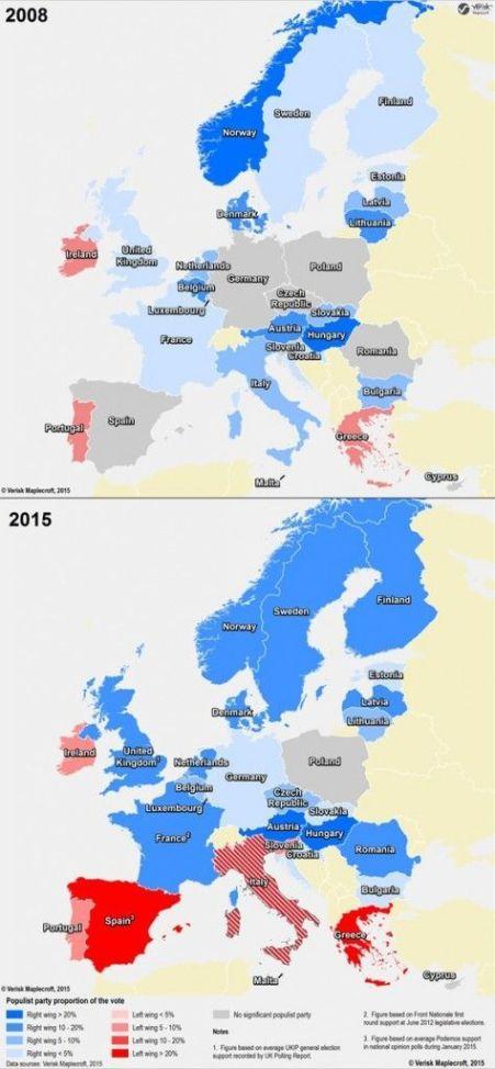Situación pre y post crisis de los apoyos a formaciones 'populistas' en Europa. Fuente: Verisk Maplecroft