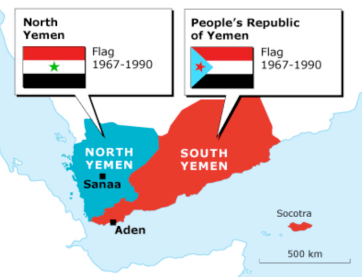 Los dos Yemen de la Guerra Fría. Fuente: https://chronicle.fanack.com/wp-content/uploads/sites/5/2014/10/the-yemen-arab-republic_yemen_north-south_map_400px.jpg