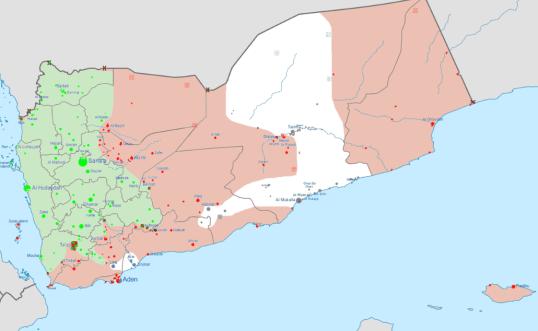 Situación militar de Yemen. Actualizada el 3 de Febrero de 2016. Fuente: https://en.wikipedia.org/wiki/Yemeni_Civil_War_(2015%E2%80%93present)#/media/File:Yemen_war_detailed_map.png