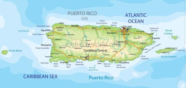 Mapa físico de la isla de Puerto Rico. En la parte central se encuentra una cordillera, obligando a que la actividad se realice en la costa circundante
