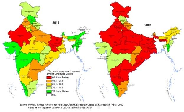 Evolución en la tasa de alfabetización. Fuente: Census of India 2011