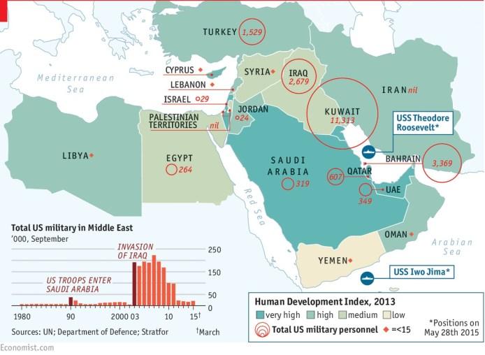 A pesar del distanciamiento Washington sigue siendo la piedra de toque para la seguridad de los monarcas del Golfo. Fuente: The Economist