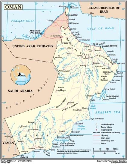 Mapa de Omán. Fuente: Naciones Unidas