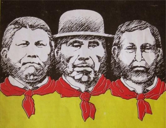 De izquierda a derecha: Iguaibiliginya, Ologindibibilele, Olonibiginya, máximos líderes de la Revolución Tule. Fuente