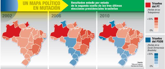 Votos obtenidos por el Partido de los Trabajadores desde el año 2002