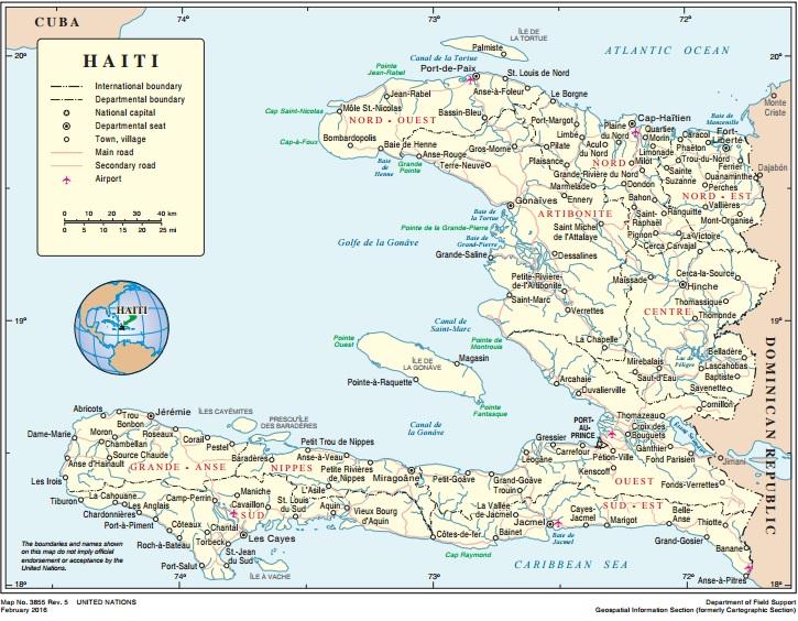 Haití comprende aproximadamente un tercio de la extensión de la isla de La Española. Fuente: Naciones Unidas