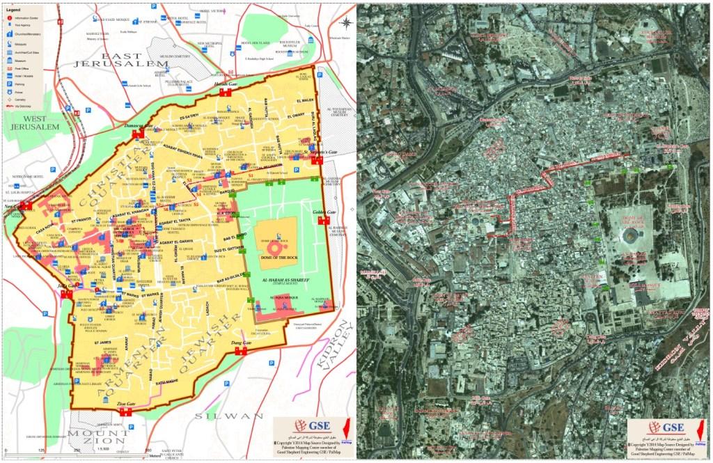 Mapa de la ciudad antigua de Jerusalen. Fuente: Palmap