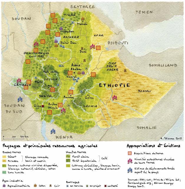 Las tierras y los recursos agrícolas, oportunidad y potencial fuente de conflictos para Etiopía. Fuente: Visionscarto
