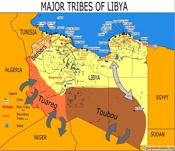 El mapa tribal libio, fundamental para entender el país.
