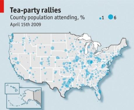 Las protestas del Tax Day. Mapa elaborado por The Economist