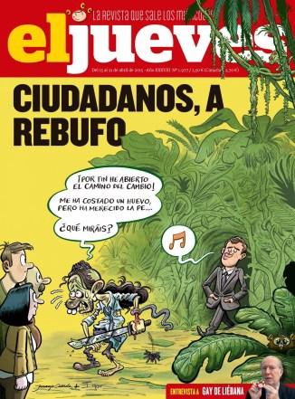 Portada de la revista satírica El Jueves. Se entiende que Ciudadanos ha ido a rebufo de Podemos en el espacio político generado por la desafección al bipartidismo. Fuente: El Jueves