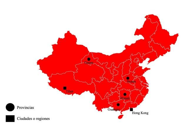 Provincias, ciudades y regiones que aparecen a lo largo del artículo