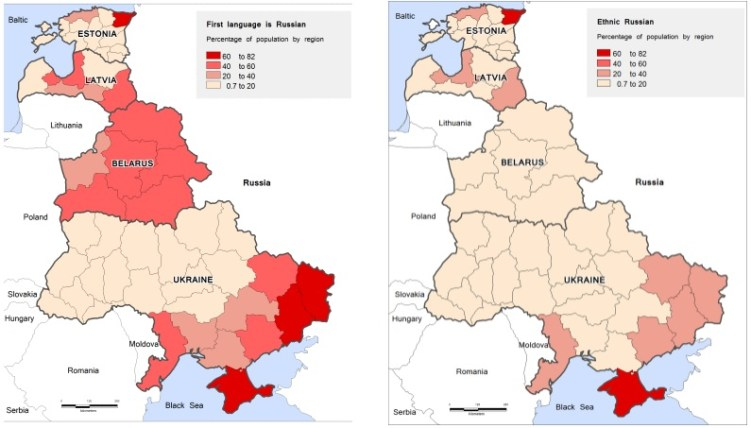 En las repúblicas exsoviéticas, al igual que en Rusia, existe una diferencia entre las comunidades de etnia rusa, y aquellas que han adaptado parte de su cultura, como la lengua. Fuente: locusinsight