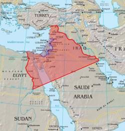 En el mapa se aprecia claramente la diferencia entre el Gran Israel descrito en el Génesis (rojo) y el del Éxodo (azul). Fuente: Elaboración propia a partir de The Market Oracle