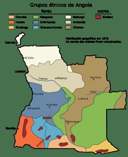 Mapa étnico de Angola: Fuente: Wikimedia