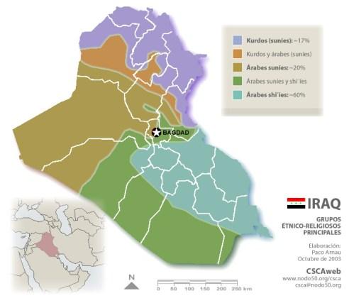 División étnica en Irak. Fuente: CSCA