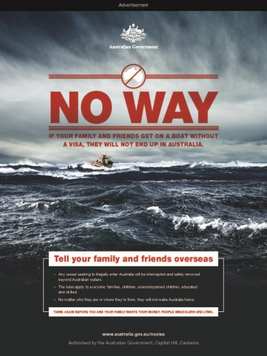 """""""No haréis de Australia vuestro hogar"""". Campaña del Gobierno australiano contra la entrada por vías ilegales al país. Fuente: Gobierno de Australia"""