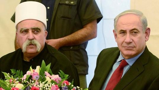 Benjamin Netanyahu y el jeque Moafaq Tarif, líder de la comunidad drusa de Israel, reunidos en 2013. Fuente: Times of Israel
