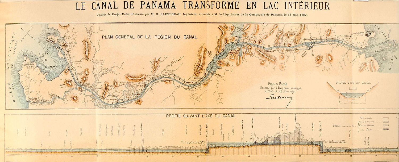 Mapa manejado por la Compañía Universal en el que se muestra la ruta de construcción seguida por los franceses. Fuente: Linda Hall Library