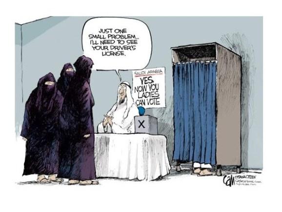 En Arabia Saudí, las mujeres pueden votar, pero no conducir (1). Fuente: The Week Magazine