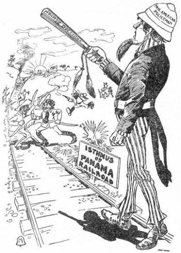La doctrina Monroe ha calado en los Estados Unidos y en 1903 no era raro encontrar referencias al Gobierno estadounidenses como la policía de toda América. Fuente: American Imperialism