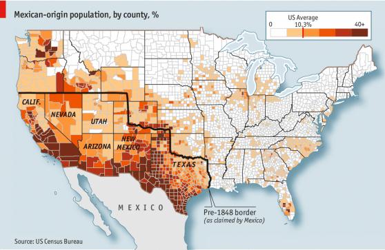 Lo que un día fue México hoy tiene todavía mucho de mexicano. Fuente: The Economist
