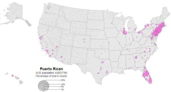 Distribución de la población puertorriqueña en Estados Unidos (2010). Fuente: El Orden Mundial