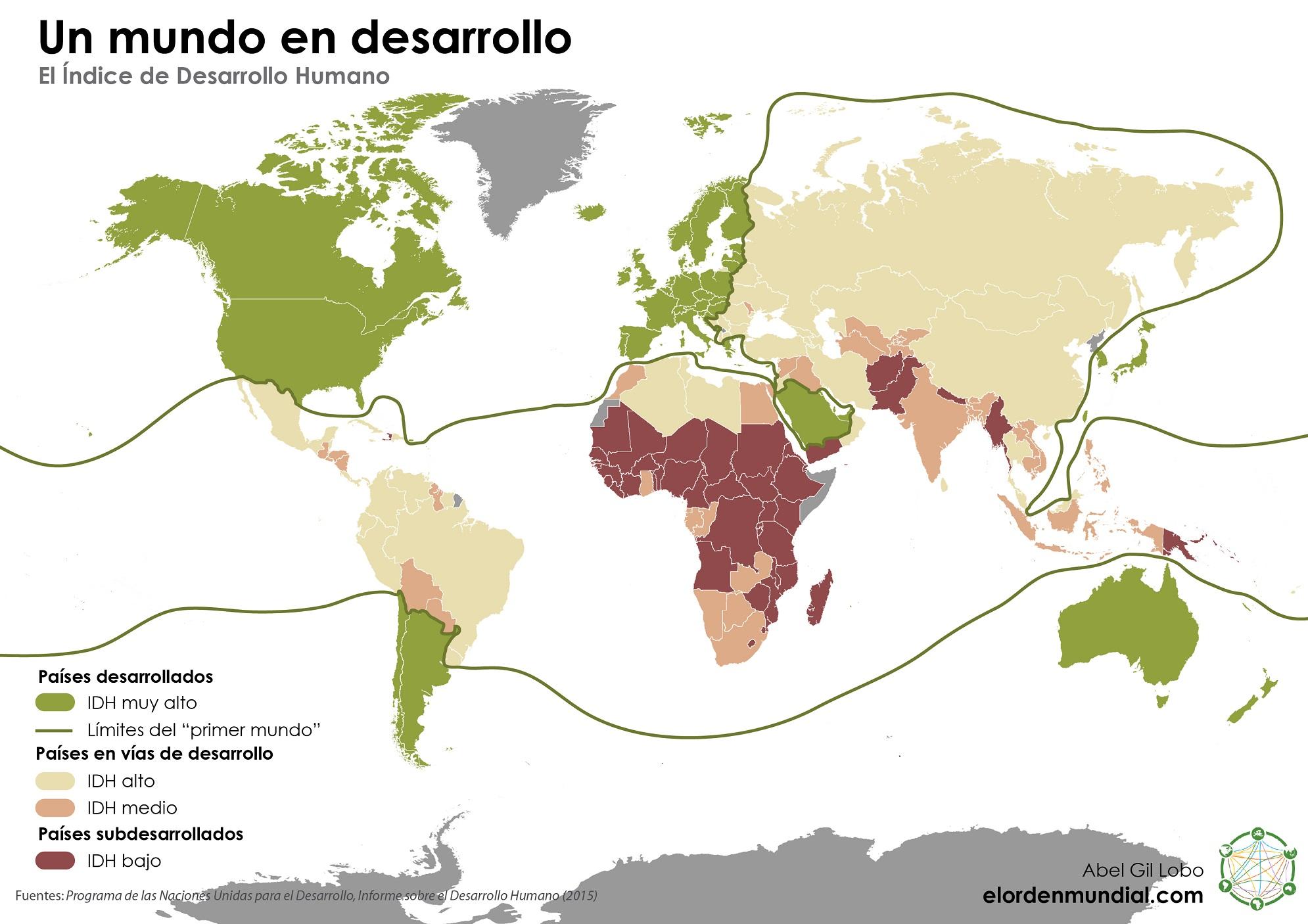 Mundo IDH Índice de Desarrollo Humano Países en vías de desarrollo Primer mundo subdesarrollados