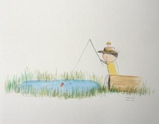 acuarela pescador