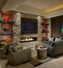 16 Amazing Living Room With Stone Wall Design Ideas 02