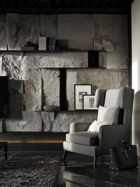 16 Amazing Living Room With Stone Wall Design Ideas 06