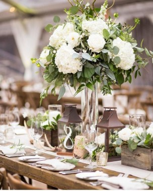 16 Beautiful Rustic Green And White Flower Arrangements 15