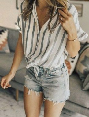 20 Classy Shorts Summer Outfit Ideas For Women 08