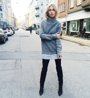 22 Ways To Combine Winter Boots And Sweaters 12