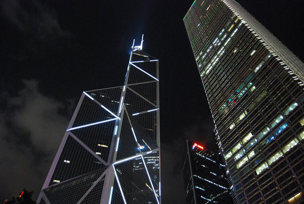 El Bank of China Tower de noche