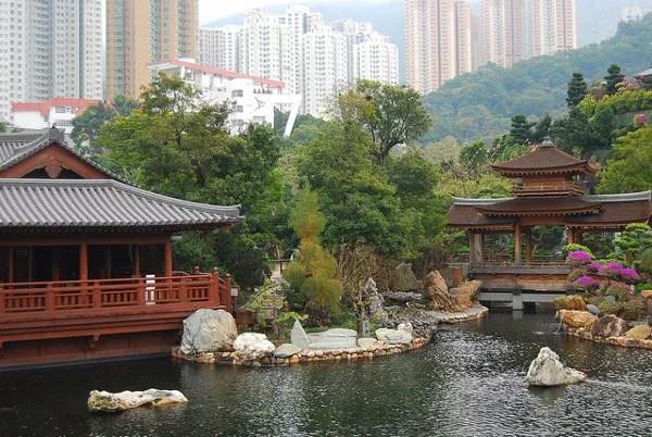 Estanque del Nan Lian Garden de Hong Kong