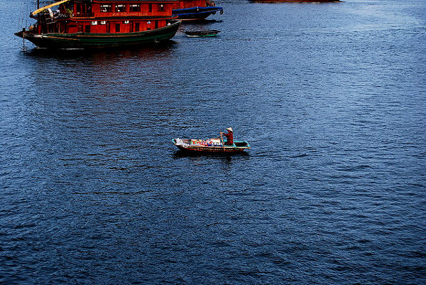Fotos Bahía de Ha Long en Vietnam, vendedora ambulante